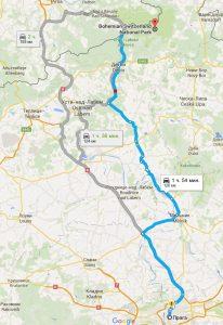 Карта маршрута до Чешской Швейцарии на автомобиле
